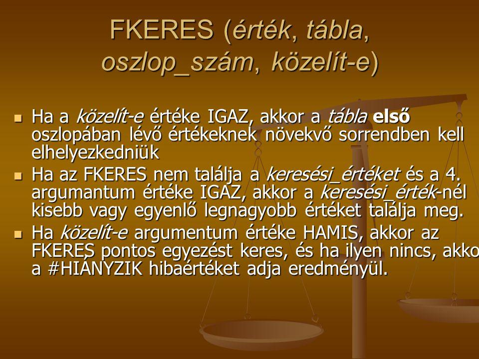 FKERES (érték, tábla, oszlop_szám, közelít-e)