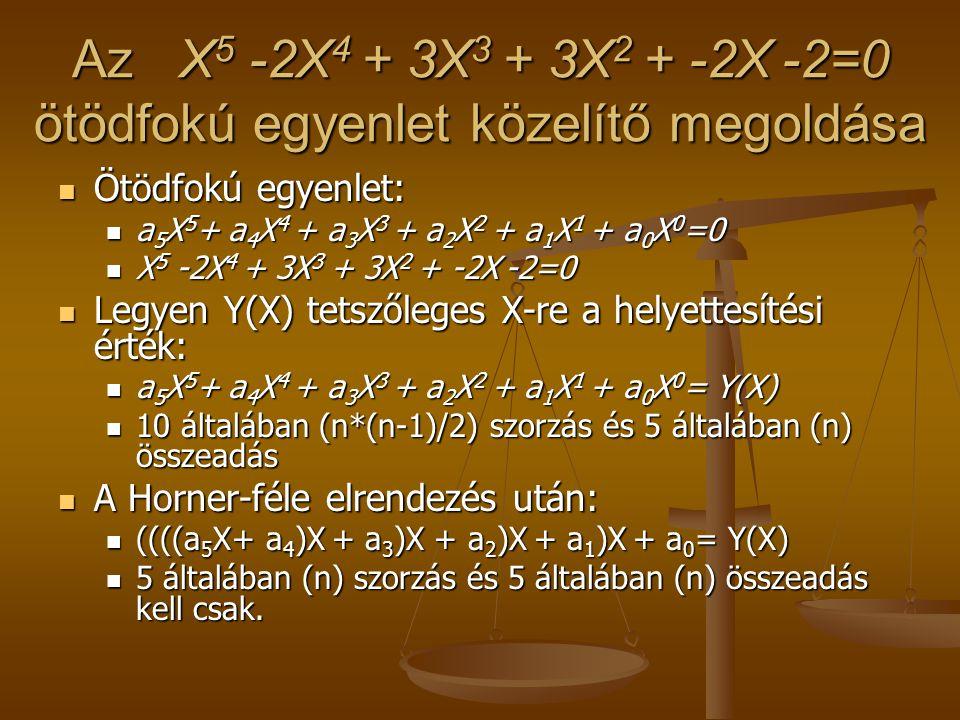 Az X5 -2X4 + 3X3 + 3X2 + -2X -2=0 ötödfokú egyenlet közelítő megoldása