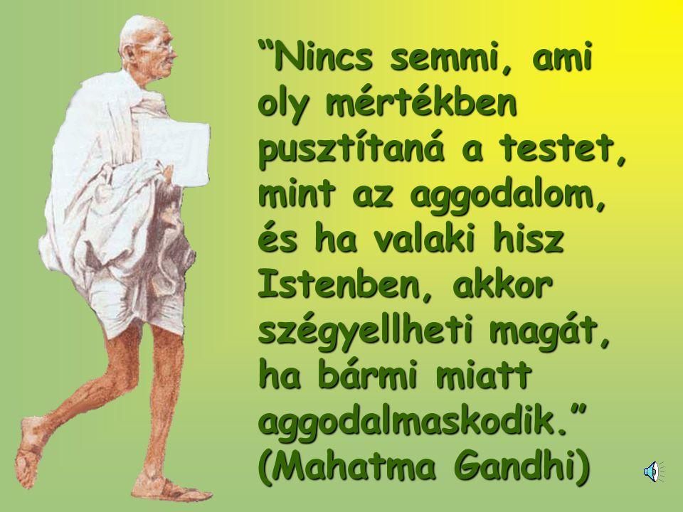 Nincs semmi, ami oly mértékben pusztítaná a testet, mint az aggodalom, és ha valaki hisz Istenben, akkor szégyellheti magát, ha bármi miatt aggodalmaskodik. (Mahatma Gandhi)