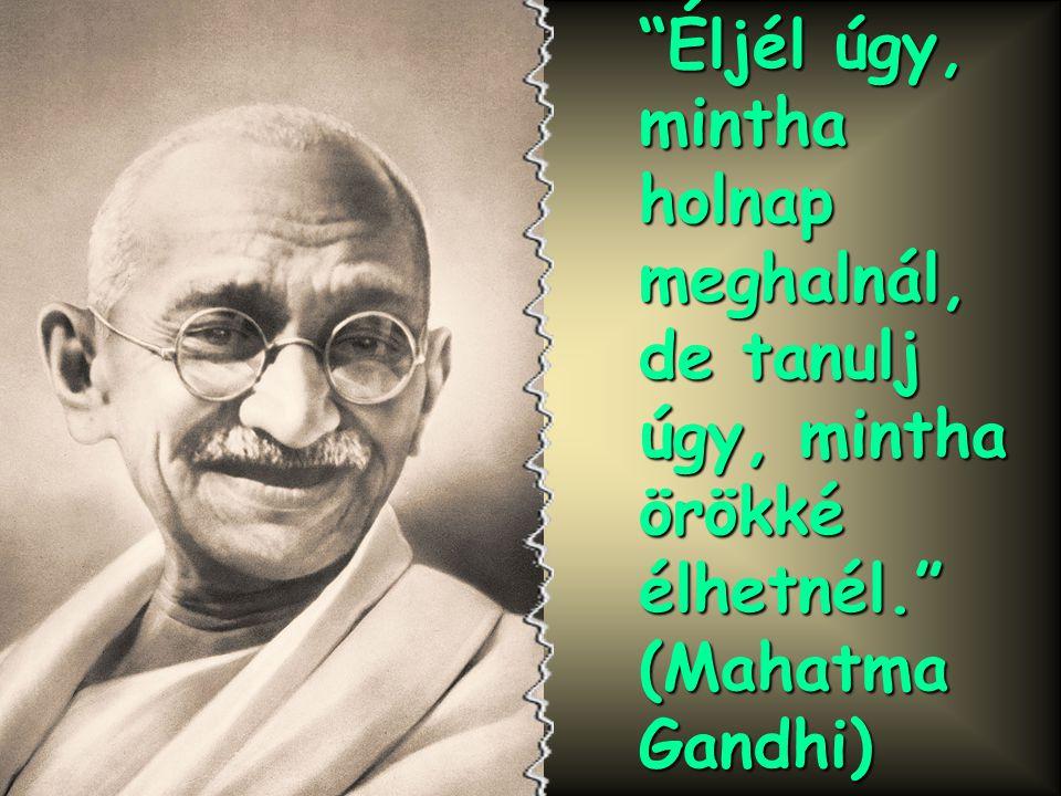 Éljél úgy, mintha holnap meghalnál, de tanulj úgy, mintha örökké élhetnél. (Mahatma Gandhi)