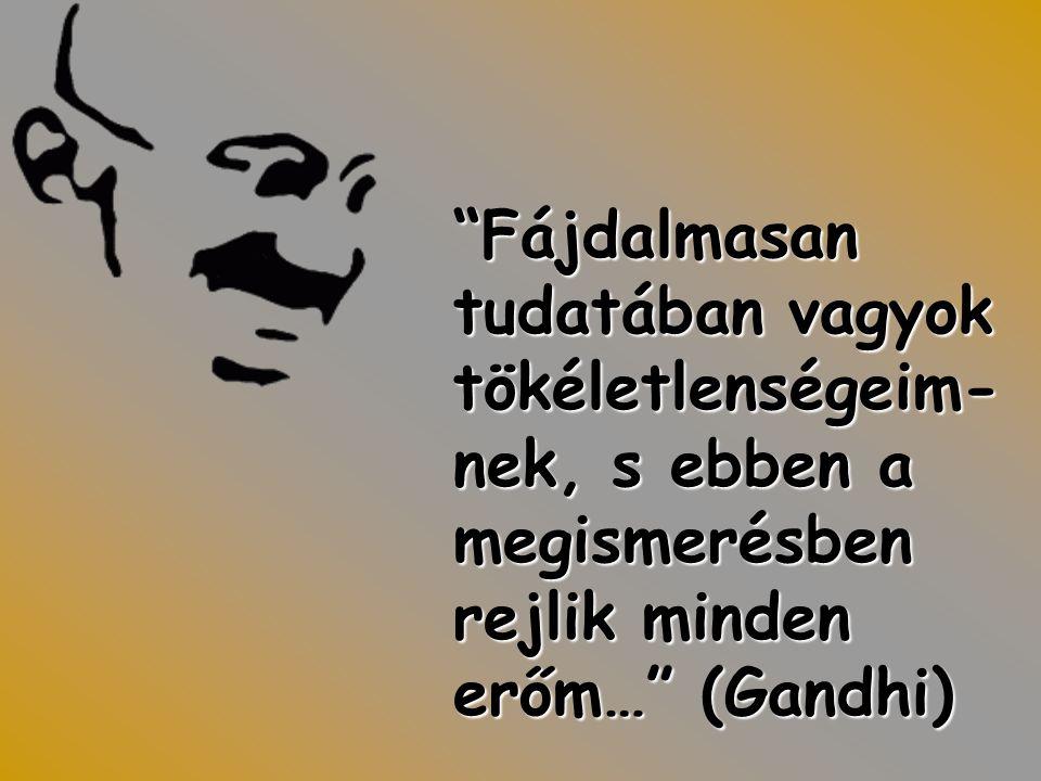 Fájdalmasan tudatában vagyok tökéletlenségeim-nek, s ebben a megismerésben rejlik minden erőm… (Gandhi)