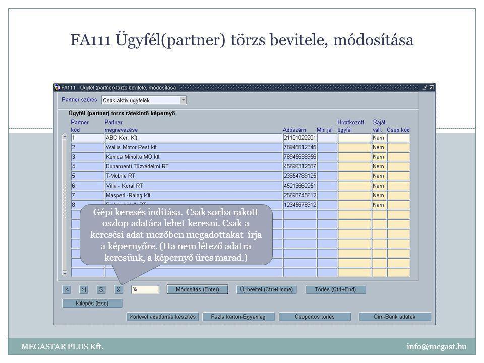 FA111 Ügyfél(partner) törzs bevitele, módosítása