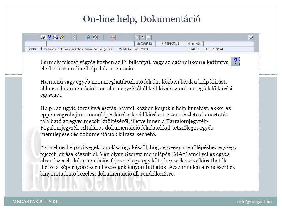 On-line help, Dokumentáció