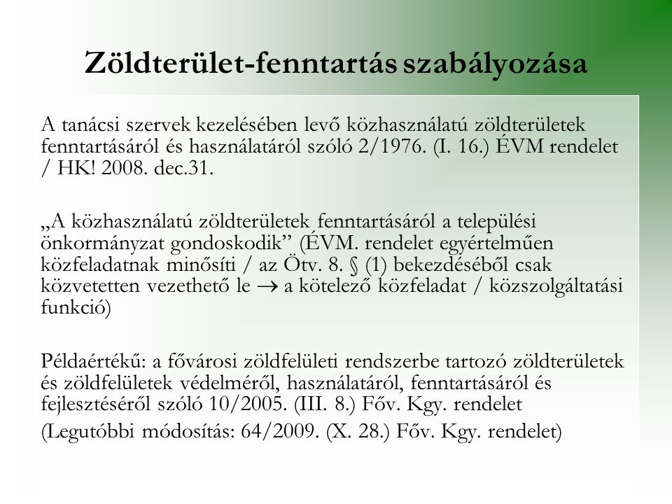 Zöldterület-fenntartás szabályozása