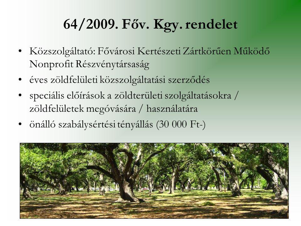 64/2009. Főv. Kgy. rendelet Közszolgáltató: Fővárosi Kertészeti Zártkörűen Működő Nonprofit Részvénytársaság.