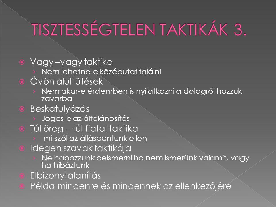 TISZTESSÉGTELEN TAKTIKÁK 3.