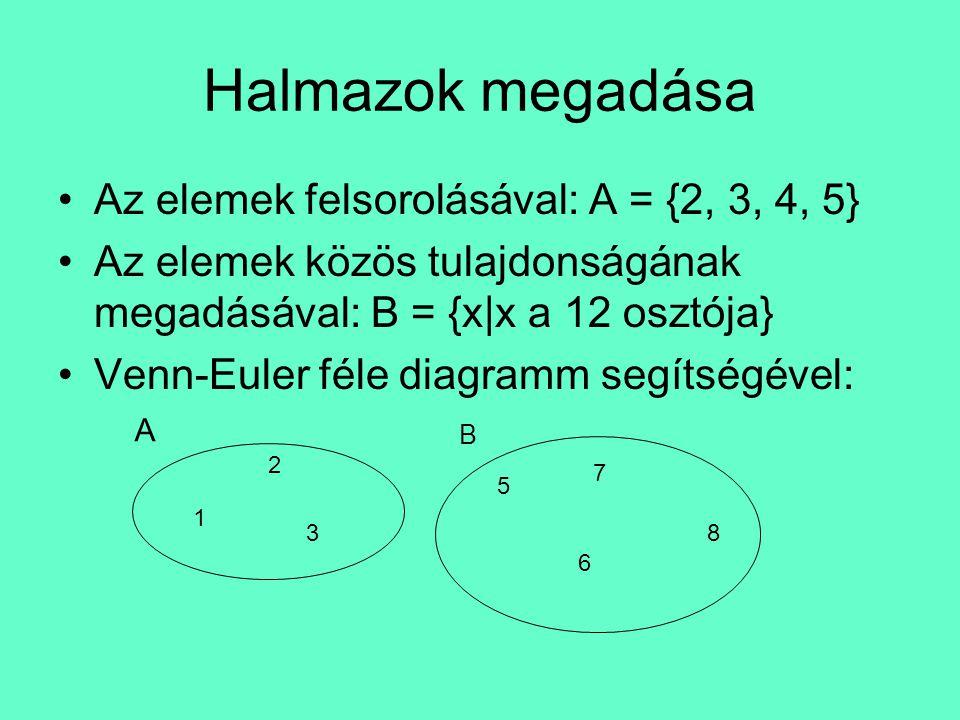 Halmazok megadása Az elemek felsorolásával: A = {2, 3, 4, 5}