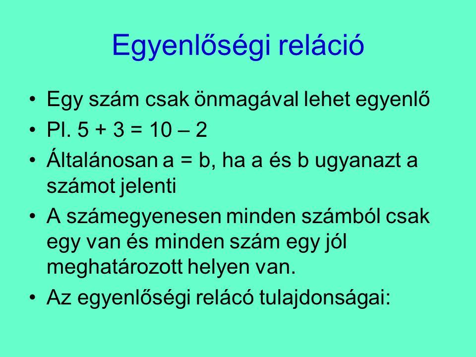 Egyenlőségi reláció Egy szám csak önmagával lehet egyenlő