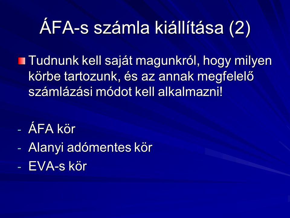 ÁFA-s számla kiállítása (2)