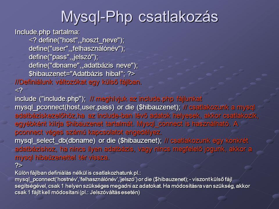 Mysql-Php csatlakozás