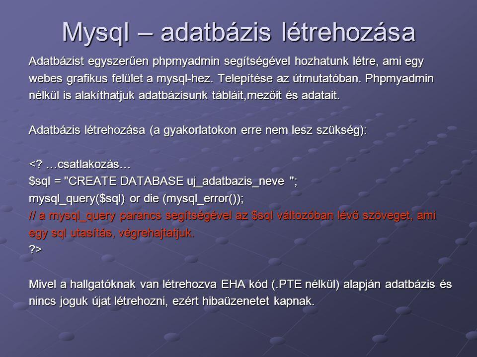 Mysql – adatbázis létrehozása