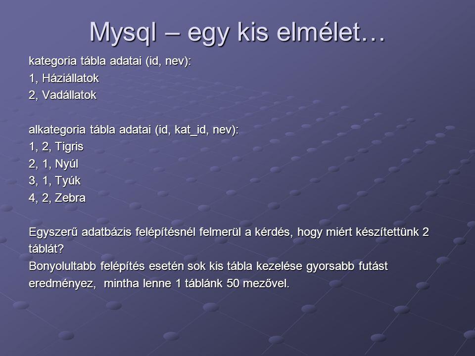 Mysql – egy kis elmélet…