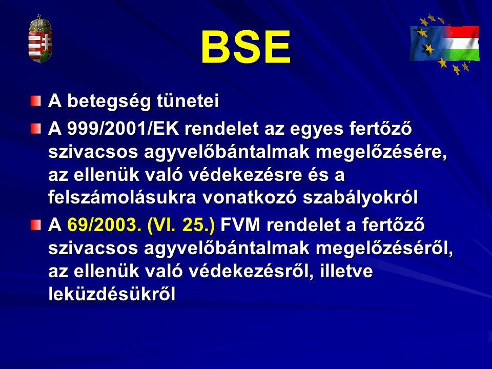 BSE A betegség tünetei.