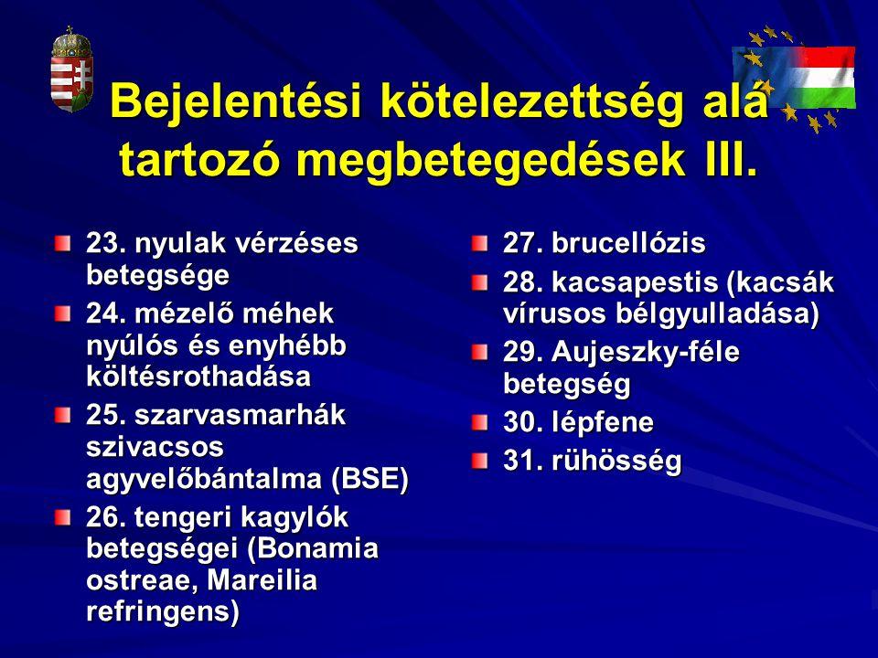 Bejelentési kötelezettség alá tartozó megbetegedések III.