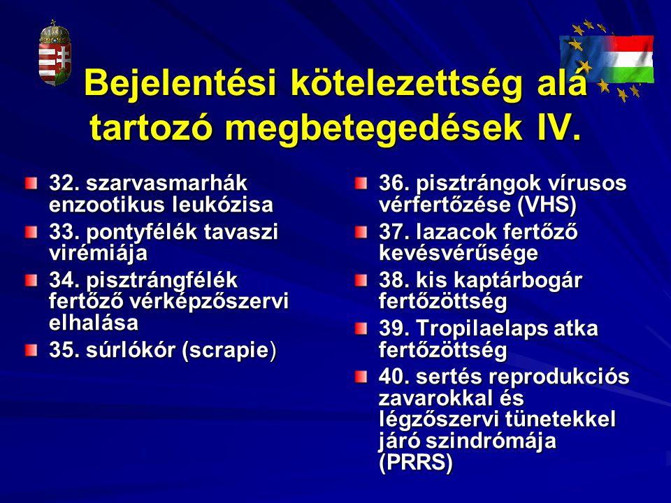Bejelentési kötelezettség alá tartozó megbetegedések IV.