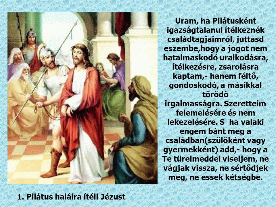 Uram, ha Pilátusként igazságtalanul ítélkeznék családtagjaimról, juttasd eszembe,hogy a jogot nem hatalmaskodó uralkodásra, ítélkezésre, zsarolásra kaptam,- hanem féltő, gondoskodó, a másikkal törődő