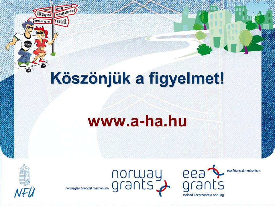 Köszönjük a figyelmet! www.a-ha.hu