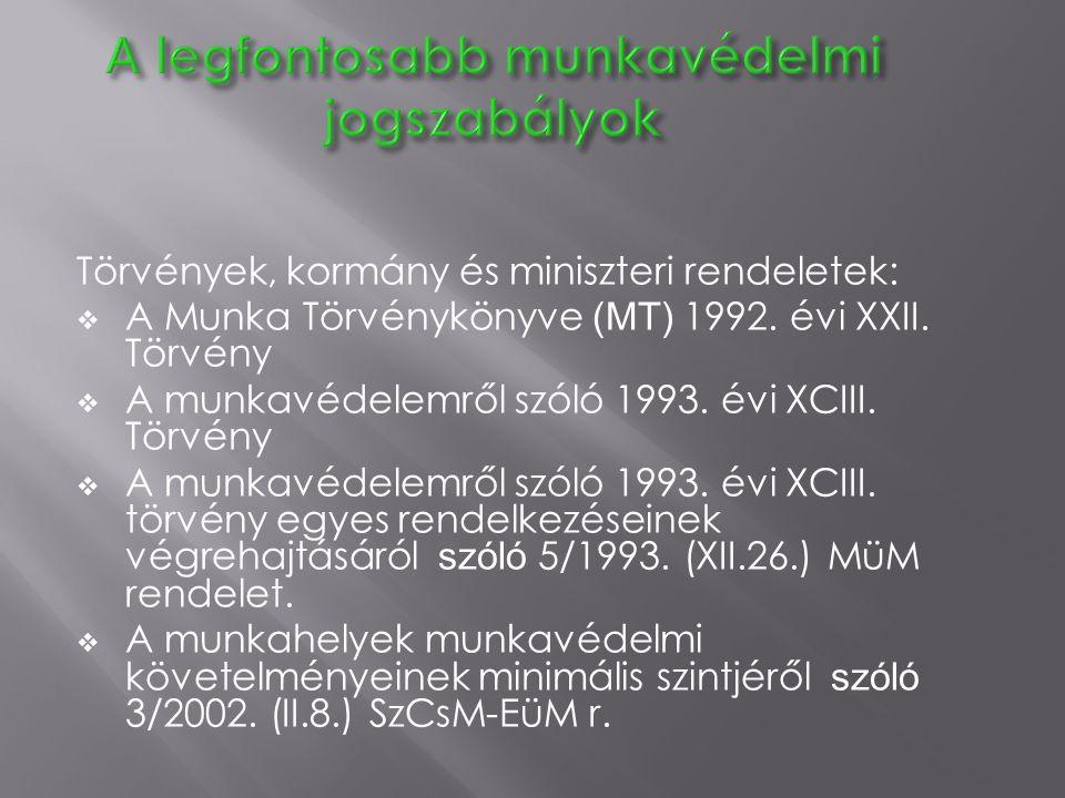 A legfontosabb munkavédelmi jogszabályok