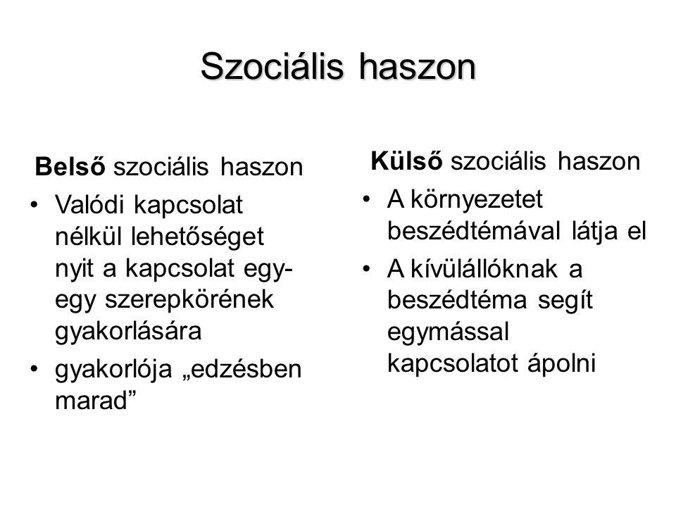 Szociális haszon Külső szociális haszon Belső szociális haszon