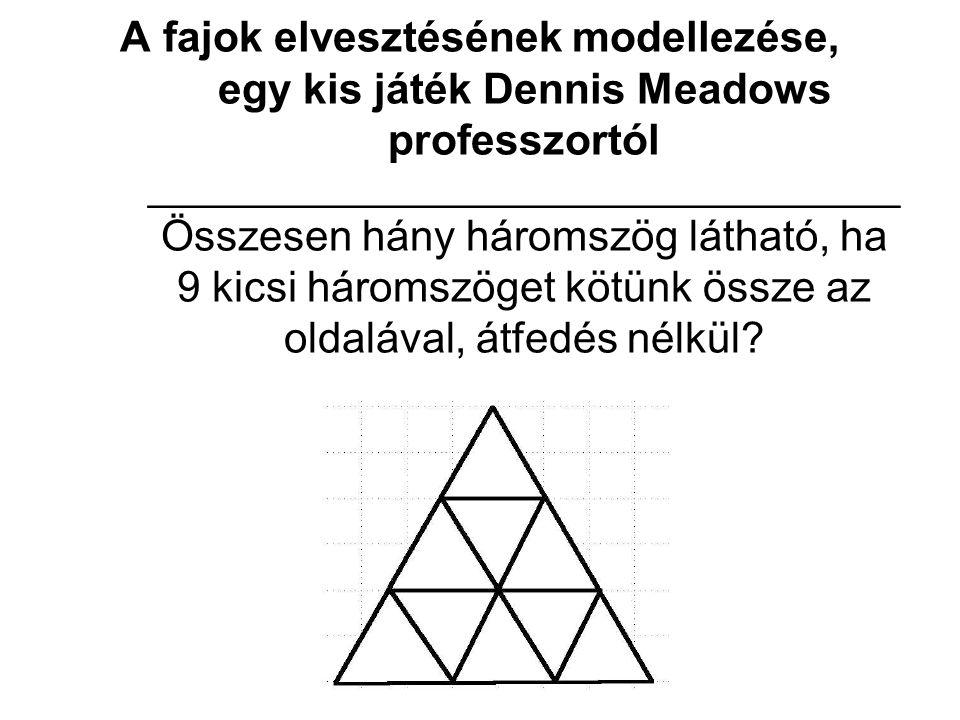 A fajok elvesztésének modellezése, egy kis játék Dennis Meadows professzortól ____________________________________ Összesen hány háromszög látható, ha 9 kicsi háromszöget kötünk össze az oldalával, átfedés nélkül