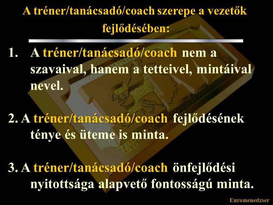 A tréner/tanácsadó/coach szerepe a vezetők