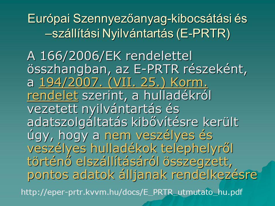 Európai Szennyezőanyag-kibocsátási és –szállítási Nyilvántartás (E-PRTR)