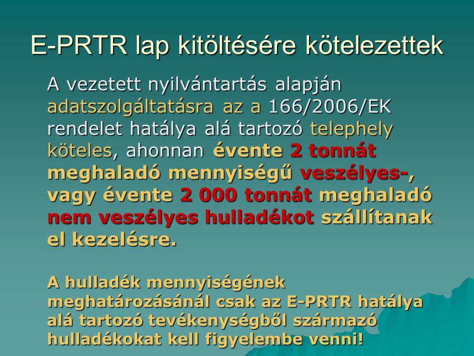 E-PRTR lap kitöltésére kötelezettek