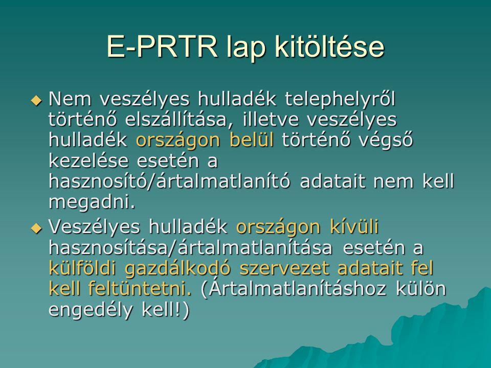 E-PRTR lap kitöltése