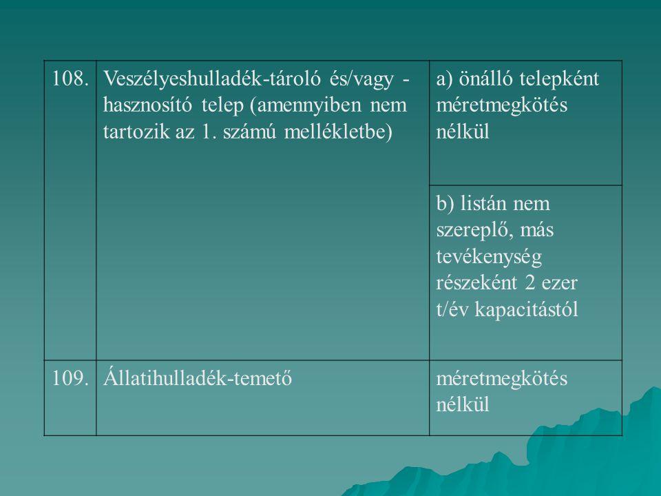 108. Veszélyeshulladék-tároló és/vagy -hasznosító telep (amennyiben nem tartozik az 1. számú mellékletbe)