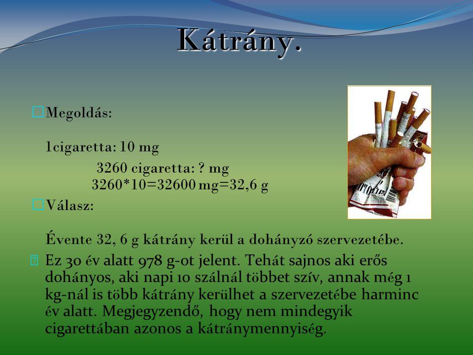 Kátrány. Megoldás: 1cigaretta: 10 mg