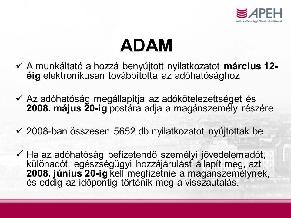 ADAM A munkáltató a hozzá benyújtott nyilatkozatot március 12-éig elektronikusan továbbította az adóhatósághoz.