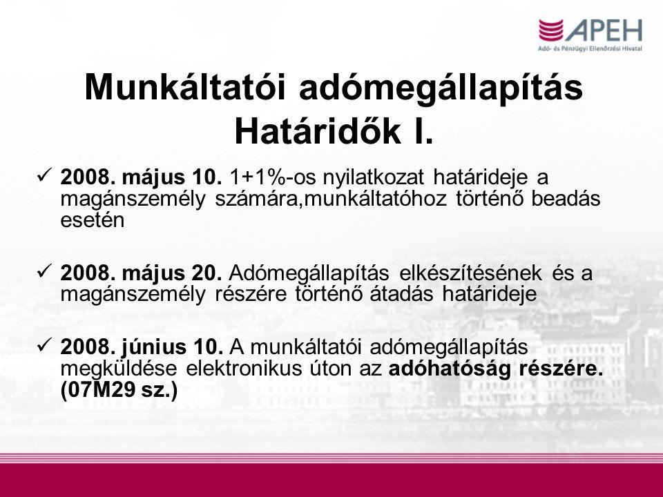 Munkáltatói adómegállapítás Határidők I.