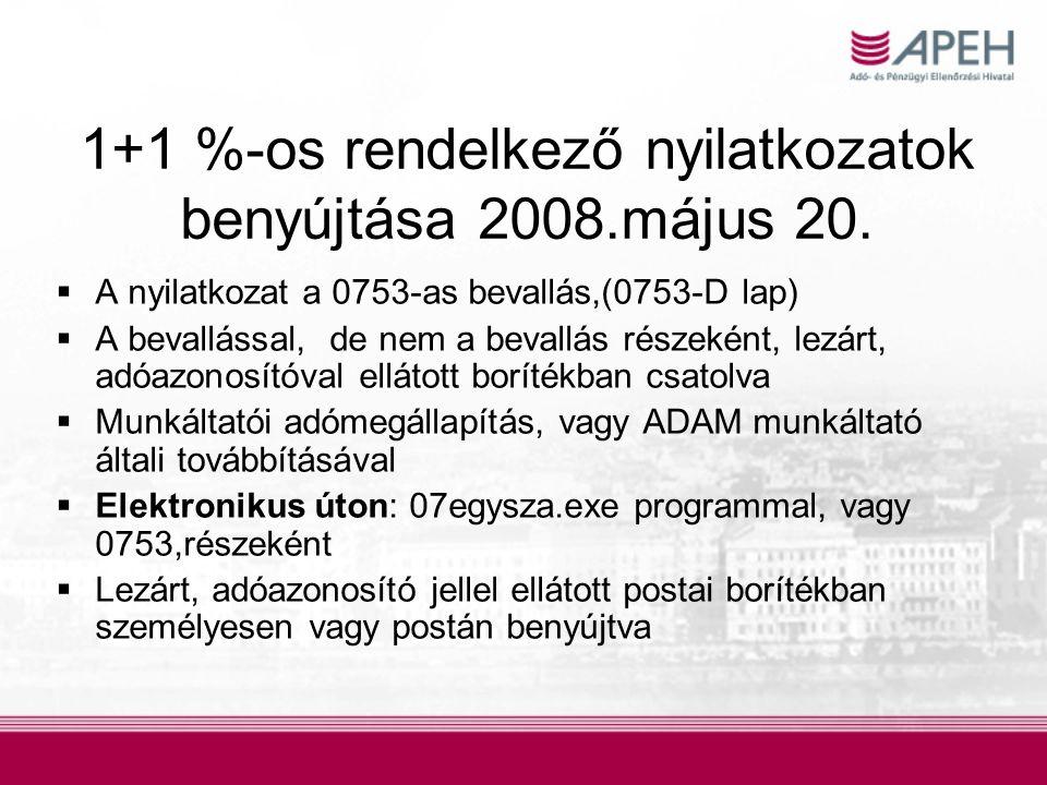 1+1 %-os rendelkező nyilatkozatok benyújtása 2008.május 20.