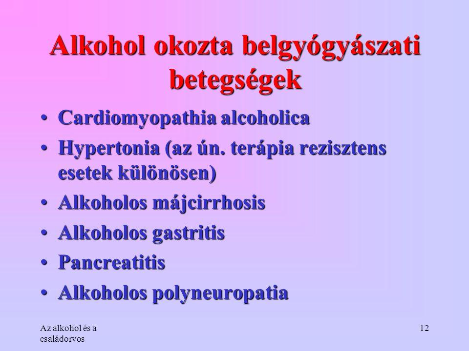 Alkohol okozta belgyógyászati betegségek