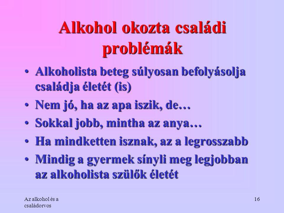 Alkohol okozta családi problémák