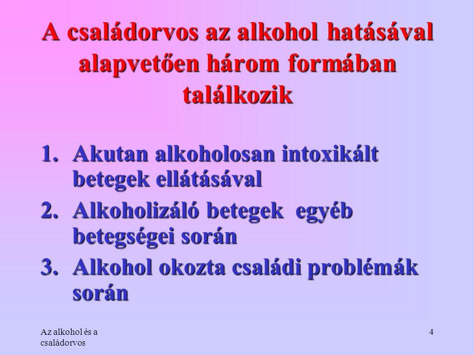 A családorvos az alkohol hatásával alapvetően három formában találkozik
