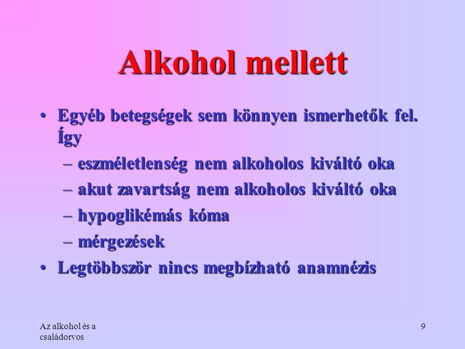 Alkohol mellett Egyéb betegségek sem könnyen ismerhetők fel. Így