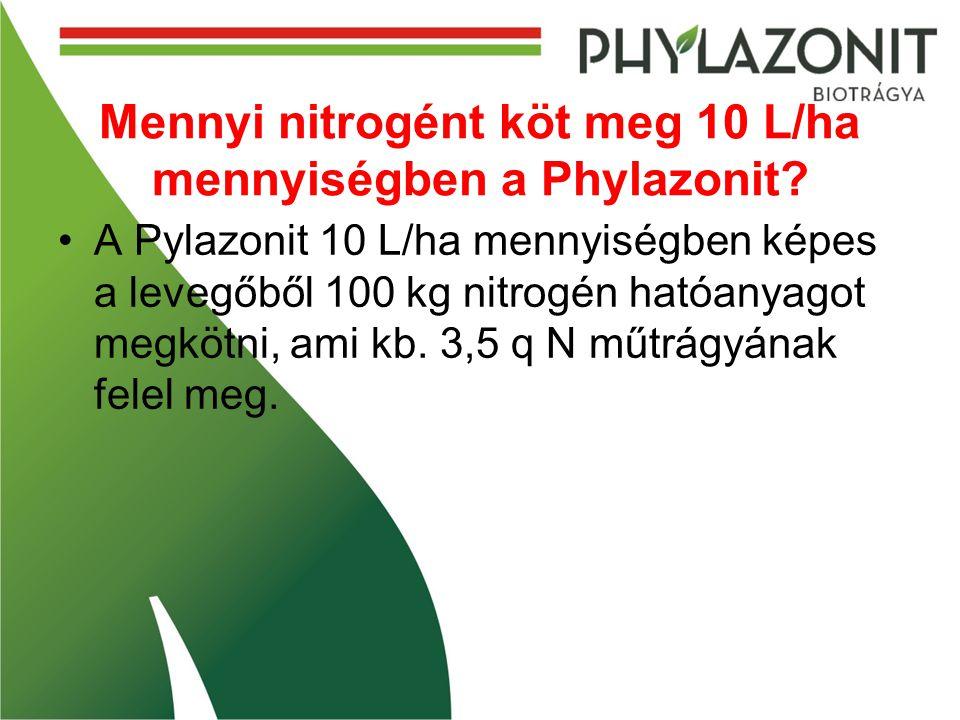 Mennyi nitrogént köt meg 10 L/ha mennyiségben a Phylazonit