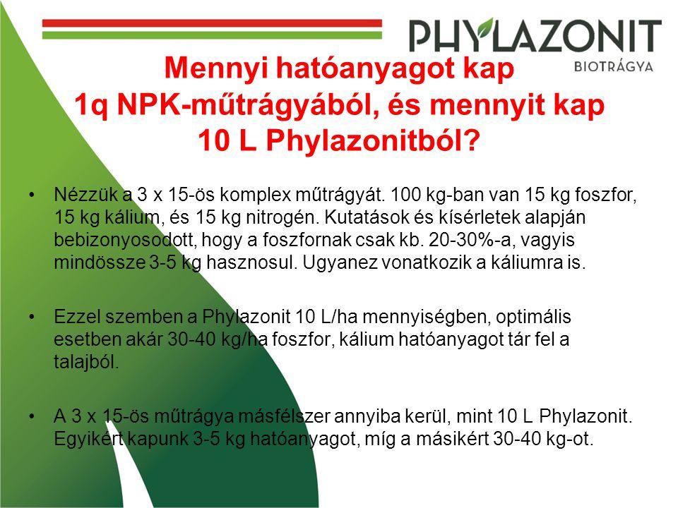 Mennyi hatóanyagot kap 1q NPK-műtrágyából, és mennyit kap 10 L Phylazonitból