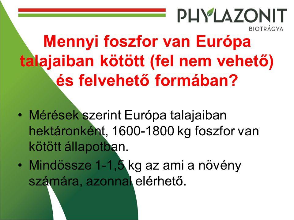 Mennyi foszfor van Európa talajaiban kötött (fel nem vehető) és felvehető formában