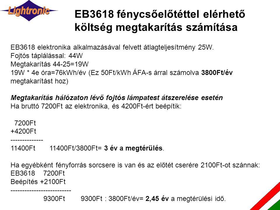 EB3618 fénycsőelőtéttel elérhető költség megtakarítás számítása