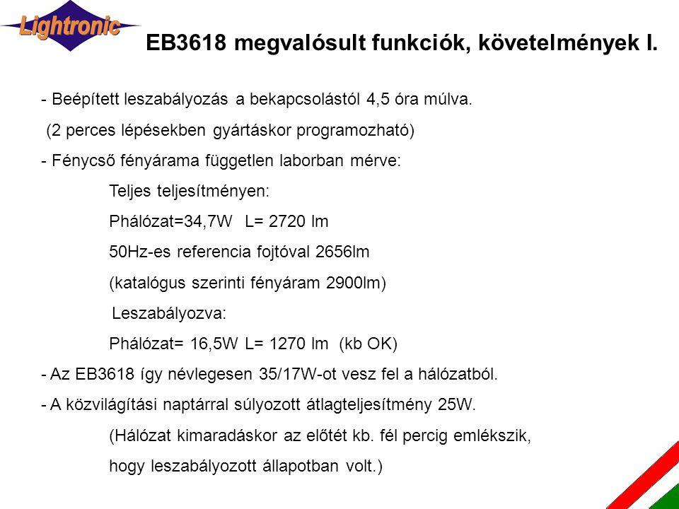 EB3618 megvalósult funkciók, követelmények I.