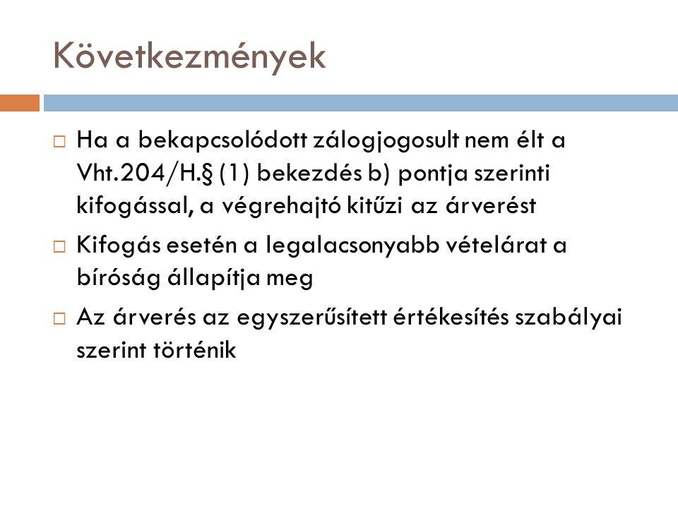 Következmények Ha a bekapcsolódott zálogjogosult nem élt a Vht.204/H.§ (1) bekezdés b) pontja szerinti kifogással, a végrehajtó kitűzi az árverést.