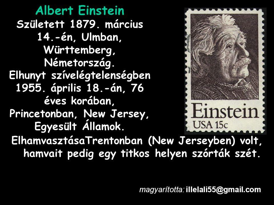 Albert Einstein Született 1879. március 14