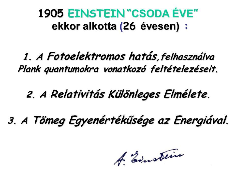 1905 EINSTEIN CSODA ÉVE ekkor alkotta (26 évesen) :