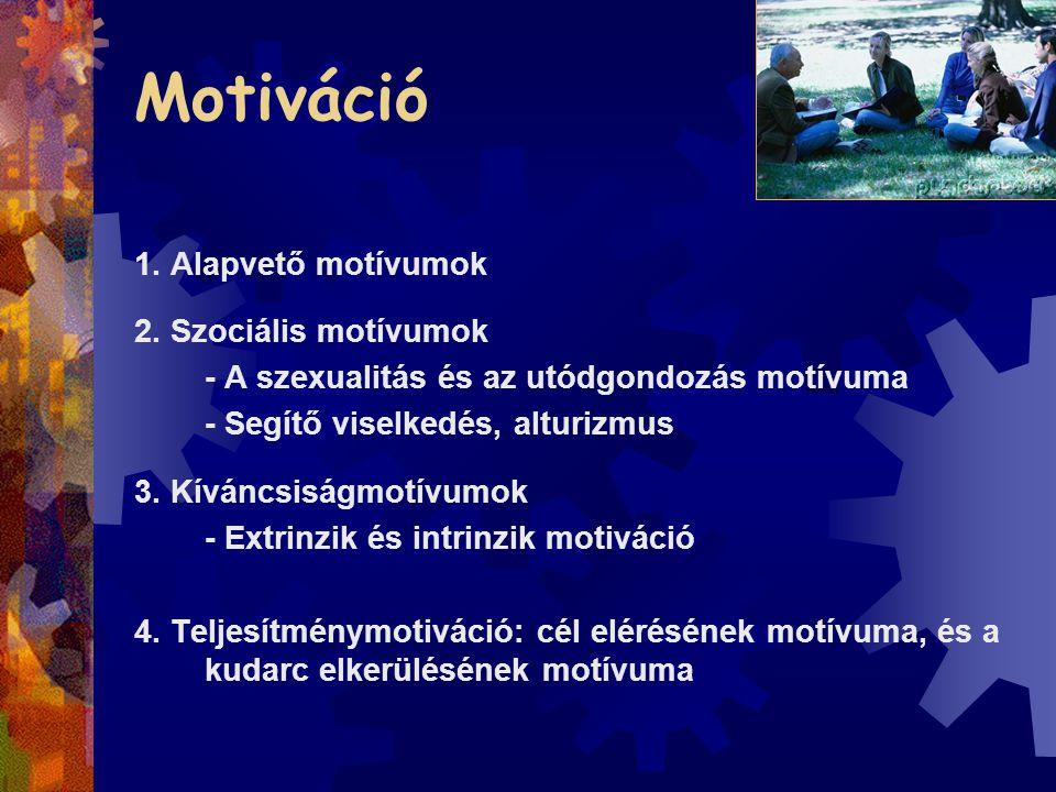 Motiváció 1. Alapvető motívumok 2. Szociális motívumok
