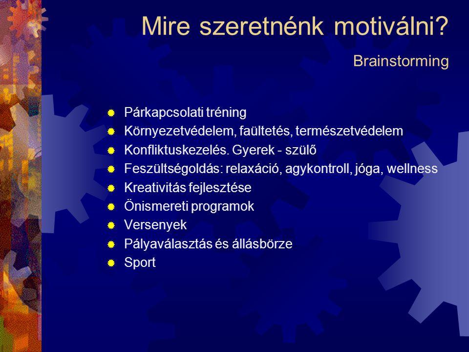 Mire szeretnénk motiválni Brainstorming
