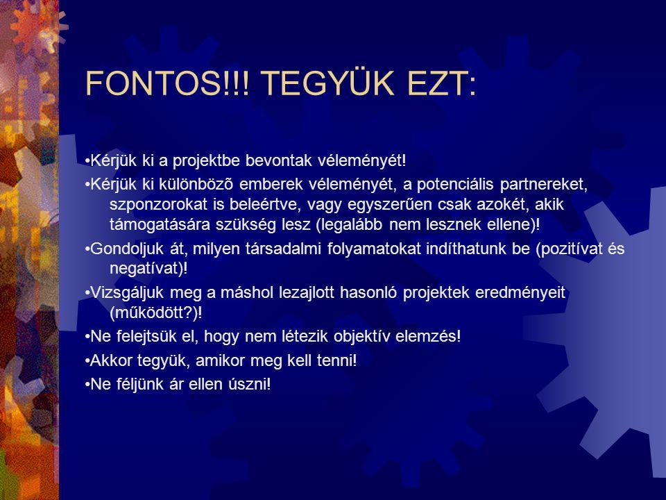 FONTOS!!! TEGYÜK EZT: •Kérjük ki a projektbe bevontak véleményét!