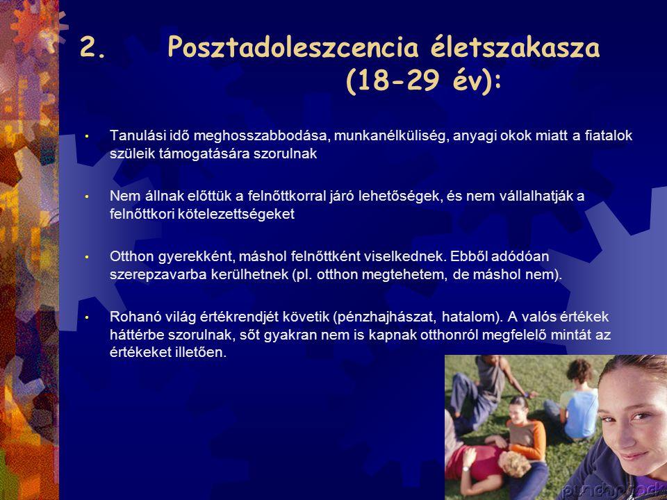 2. Posztadoleszcencia életszakasza (18-29 év):