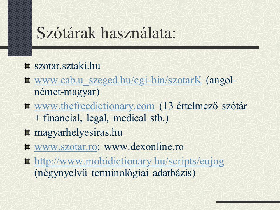 Szótárak használata: szotar.sztaki.hu